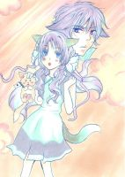 pastel drawing - fox and wolf by yoolin