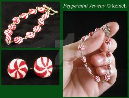 Peppermint Candy Earrings and Bracelet by keixell