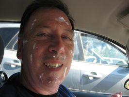 My dad covered in sun block by i-love-chi