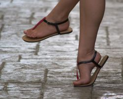 Ariadna's Pink and Black Flat Sandals I by Feetatjoes