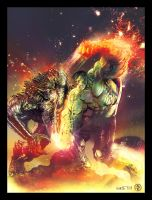 Hulk vs Abomination by LeoColapietroArt