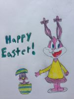 Happy Easter from Babs Bunny and Sweetie Bird by nintendolover2010