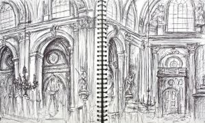 Sketch of the Church Close Up by DinaPI