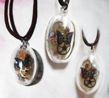 Steampunk Butterfly in Dome by xxPRECIOUSMOMENTSxx