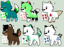 Chibi wolf point adoptables ALL CLOSED by Sliced-Penguin