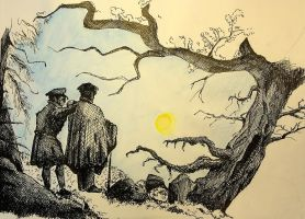 Sketch of two men contemplating the moon by MarcoHauwert