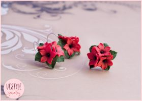 Polymer Clay flower earrings and ring by Vestalye