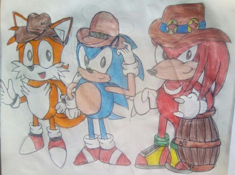 Classic Tails, Sonic and Knuckles by TheOneAndOnlyCactus