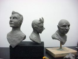 futurama busts wip by artanis-one