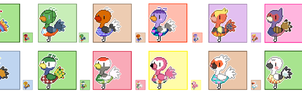 Animal Crossing Pixel Avatars- Ostriches by Maareep