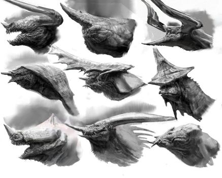 Dragon Head Sketches Compliation by LindseyWArt