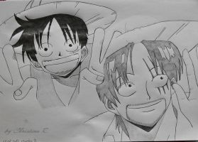 Luffy and Shanks by Monstacookie