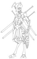 Ant Warior lineart by N0B0D1