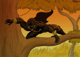 Black Panther on the prowl by artofjared