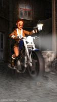 Lara Croft on her street assault motorbike by doppeL-zgz