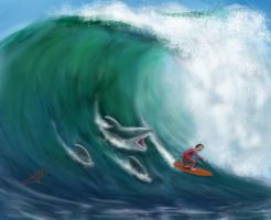 Surfing with sharks by guang2222