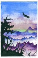 Nature Scene - 2 - Watercolor and India Ink by indigowarrior
