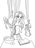 Cooking Rapunzel +Lineart+ by 77Shaya77