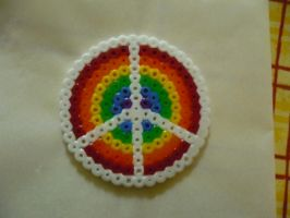 Rainbow Peace Sign Perler by tabescent