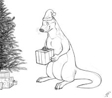 Christmas Otter Sketch by Temiree