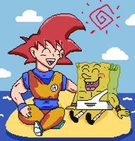 SSJ God Goku and God SpongeBob by DarkraDx