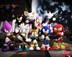Sonic and his pals in Quake 3 by MarineACU