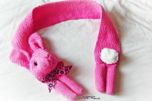 Kawaii Pink Bunny Scarf by Cateaclysmic