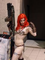 Red Sonja with Pulse Rifle by msventress