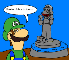 Luigi - Hates his Statue by AwesomeCAS