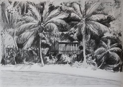 Beach in charcoal by Foxflake
