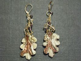 ceramic leaf earrings in gold by DPBJewelry