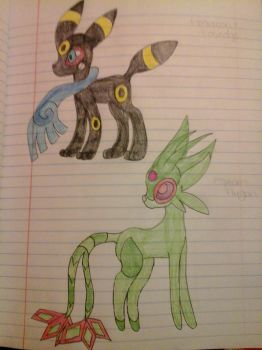 Umbreon+Honedge,Espeon+Flygon by Razorwingproject201