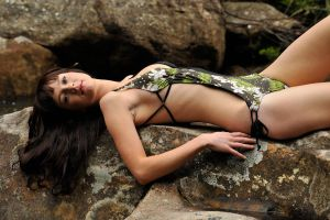 Louise - swimsuit on rock 1 by wildplaces