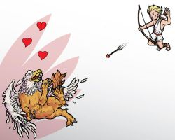The Psycho Gryphon and Cupid by mastermatt111