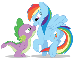 Rainbow Dash and Spike (Sketch by Mickeymonster) by romansiii