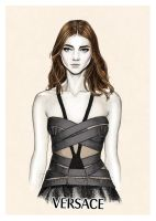 Versace SS14 - fashion illustration by Tania-S