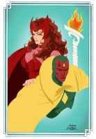 Scarlet Witch and Vision by BloodTalonHero