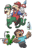Mario, Luigi and Minecraft by Pokekoks