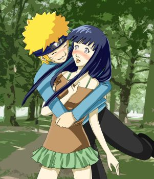 NaruHina Glomp by LadyCyco