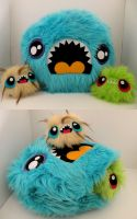 Monster pillow w two babies by loveandasandwich