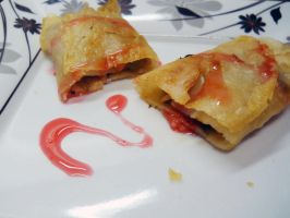 Spring rolls with sweet and sour sauce by burnmydress