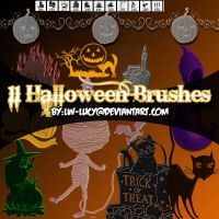 11 pack Halloween Brushes by LW-Lucy