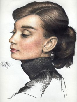 Audrey Hepburn 170 colored pen by Ethan-Carl