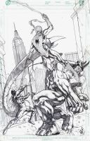 Spider-Man VS. Rhino and Scorpion by jey2dworld