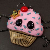 Cherry Bomb Cupcake Necklace by beatblack