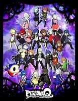 Persona Q All P3 and P4 teams Poster by xMakeDamnSurex