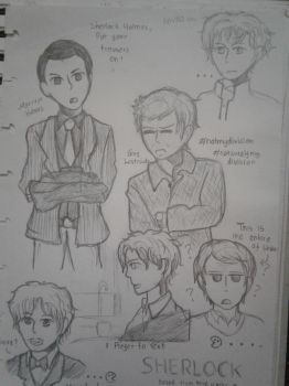 BBC Sherlock Doodles by MarvaNinella