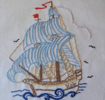 Ship Embroidery by NapaeaOfAion