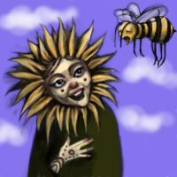 Sunflower Queen and Tired Bee by Xadrea