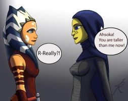 Ahsoka taller than Barriss by Raikoh-illust